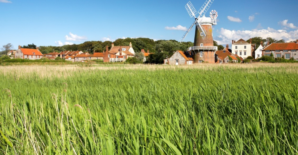 Windmill on a bright sunny day at Cley Next The Sea on the North Norfolk Coast