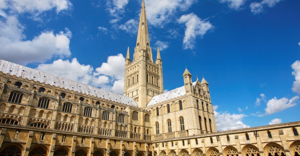 Norwich Cathedral on a bright summer's day